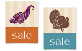 Thanksgiving Cornucopia & Turkey - Poster Sample Template