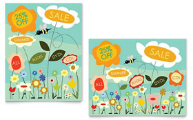 Spring & Summer Flowers - Sale Poster Template