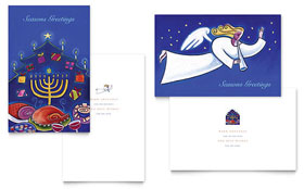 Holiday Seasons Menorah - Greeting Card Template