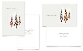 Modern Holiday Trees - Greeting Card Template