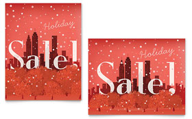 Cityscape Winter Holiday - Sale Poster Template