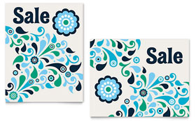 Winter Color Floral - Poster Template