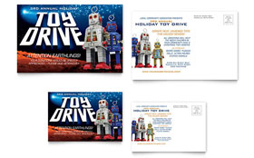 Holiday Toy Drive Fundraiser - Postcard Template Design Sample
