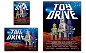 Holiday Toy Drive Fundraiser - Flyer & Ad Template Design Sample