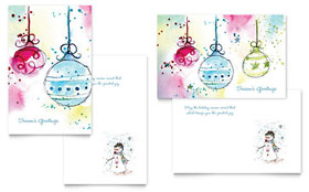 Whimsical Ornaments - Greeting Card Template Design Sample