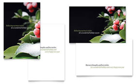 Holly Leaves - Greeting Card Sample Template