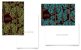 Stylish Holiday Trees - Greeting Card Sample Template