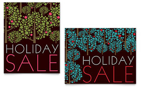 Stylish Holiday Trees - Sale Poster Template