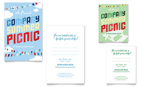 Company Summer Picnic - Note Card Template Design Sample