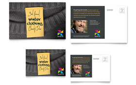 Winter Clothing Drive - Postcard Template Design Sample