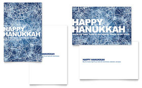 Happy Hanukkah - Greeting Card Template Design Sample