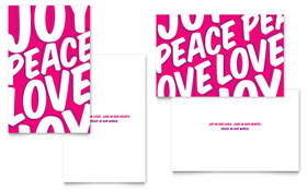 Peace Love Joy - Greeting Card Template Design Sample