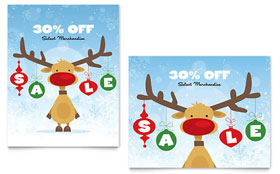 Reindeer Snowflakes - Sale Poster Template Design Sample