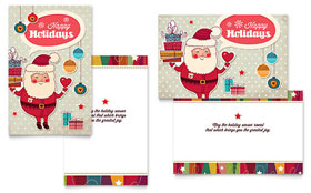 Retro Santa - Greeting Card