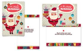 Retro Santa - Greeting Card Template