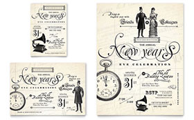 Vintage New Year's Party - Print Ad Template Design Sample