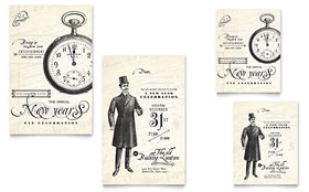 Vintage New Year's Party - Note Card Template Design Sample