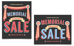 Memorial Weekend - Poster Template Design Sample