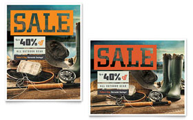 Fishing Gear - Sale Poster Template Design Sample