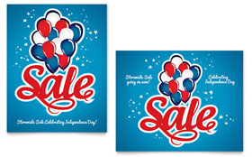 Celebration Balloons - Sale Poster Template Design Sample