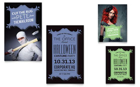 Halloween Costume Party - Note Card Template
